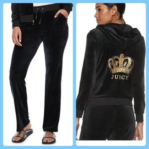 New Juicy Couture Tracksuit Black  Velour 2pc Set